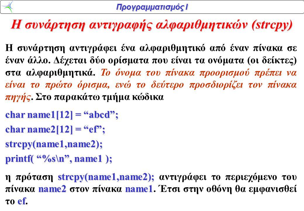 Προγραμματισμός Ι Η συνάρτηση αντιγραφής αλφαριθμητικών (strcpy) H συνάρτηση αντιγράφει ένα αλφαριθμητικό από έναν πίνακα σε έναν άλλο. Δέχεται δύο ορ