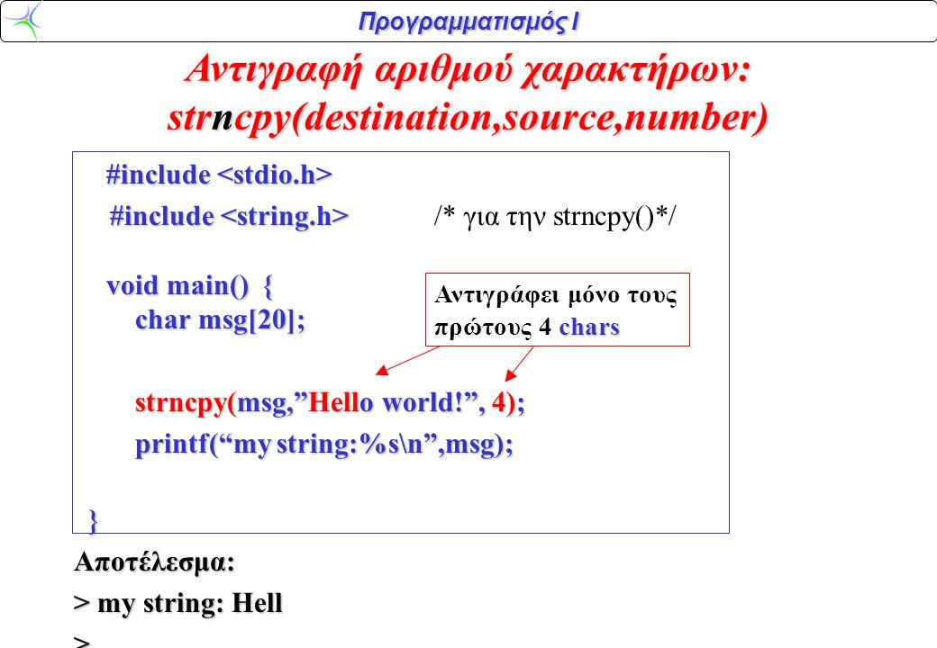 Προγραμματισμός Ι Αντιγραφή αριθμού χαρακτήρων: strncpy(destination,source,number) #include #include #include void main() { char msg[20]; #include /*