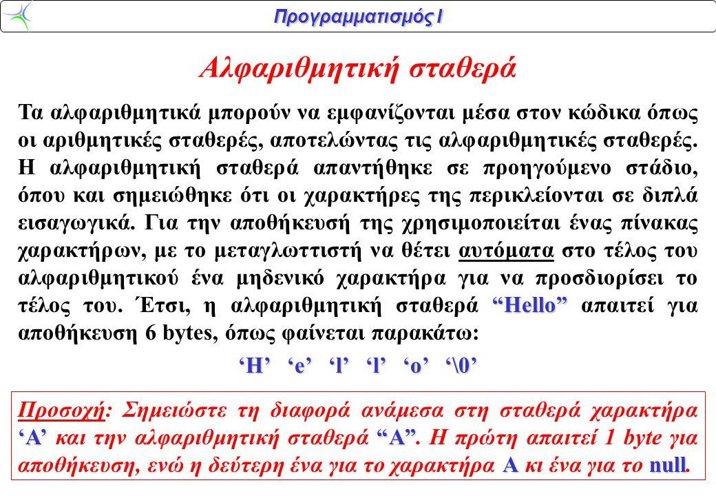 """Προγραμματισμός Ι Αλφαριθμητική σταθερά """"Hello"""" Τα αλφαριθμητικά μπορούν να εμφανίζονται μέσα στον κώδικα όπως οι αριθμητικές σταθερές, αποτελώντας τι"""