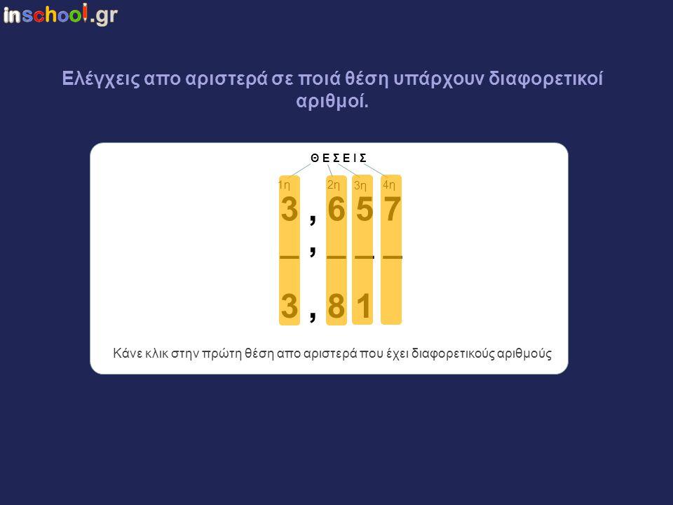 δφδ3,654 Όταν θέλεις να φτιάξεις δεκαδικό ανάμεσα σε δύο άλλους …. 3, 6 5 7 3, 8 1 _, _ _ _