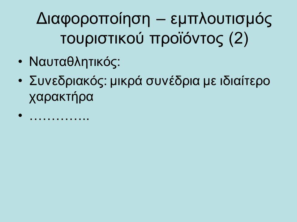 Διαφοροποίηση – εμπλουτισμός τουριστικού προϊόντος (2) •Ναυταθλητικός: •Συνεδριακός: μικρά συνέδρια με ιδιαίτερο χαρακτήρα •…………..