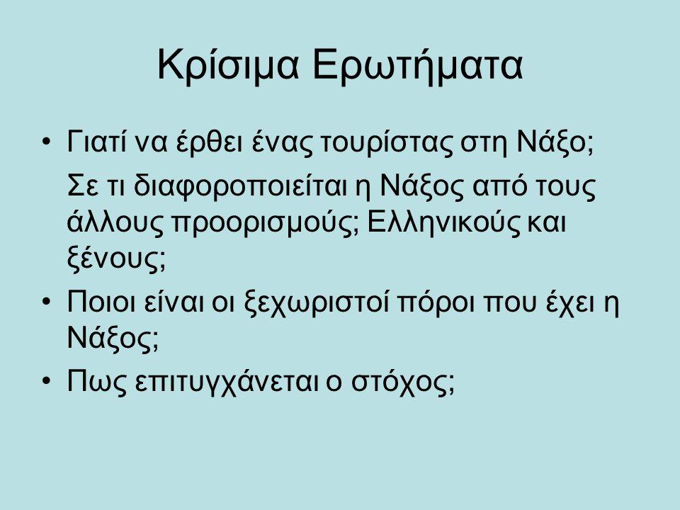 Κρίσιμα Ερωτήματα •Γιατί να έρθει ένας τουρίστας στη Νάξο; Σε τι διαφοροποιείται η Νάξος από τους άλλους προορισμούς; Ελληνικούς και ξένους; •Ποιοι εί