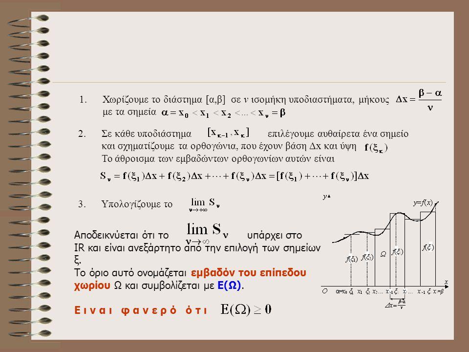 2ο Μέρος : Ορισμός Εμβαδού Έστω f μια συνεχής συνάρτηση σε ένα διάστημα [α,β],με για κάθε και Ω το χωρίο που ορίζεται από τη γραφική παράσταση της f,