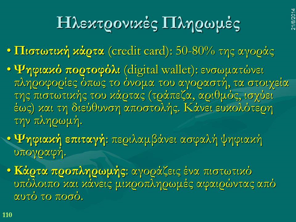 110 21/6/2014 Ηλεκτρονικές Πληρωμές •Πιστωτική κάρτα (credit card): 50-80% της αγοράς •Ψηφιακό πορτοφόλι (digital wallet): ενσωματώνει πληροφορίες όπω