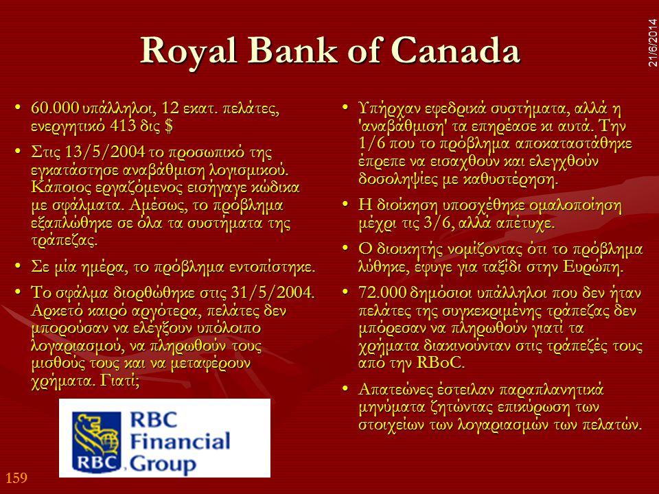 159 21/6/2014 Royal Bank of Canada •60.000 υπάλληλοι, 12 εκατ. πελάτες, ενεργητικό 413 δις $ •Στις 13/5/2004 το προσωπικό της εγκατάστησε αναβάθμιση λ