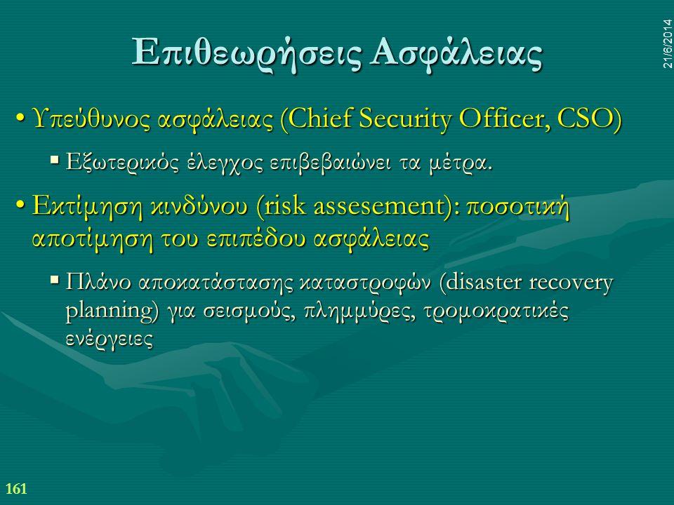 161 21/6/2014 Επιθεωρήσεις Ασφάλειας •Υπεύθυνος ασφάλειας (Chief Security Officer, CSO)  Εξωτερικός έλεγχος επιβεβαιώνει τα μέτρα. •Εκτίμηση κινδύνου