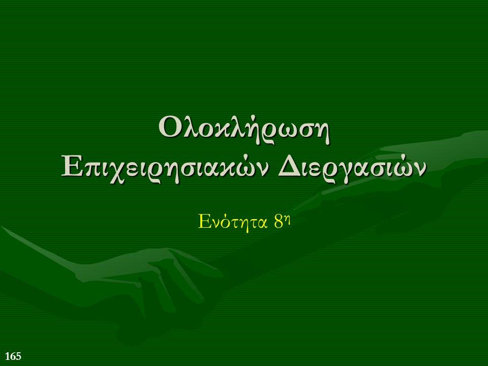 165 Ολοκλήρωση Επιχειρησιακών Διεργασιών Ενότητα 8 η