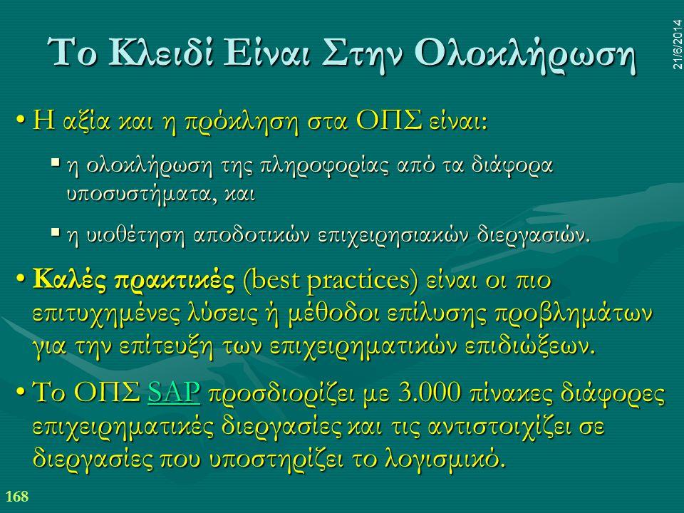 168 21/6/2014 Το Κλειδί Είναι Στην Ολοκλήρωση •Η αξία και η πρόκληση στα ΟΠΣ είναι:  η ολοκλήρωση της πληροφορίας από τα διάφορα υποσυστήματα, και 