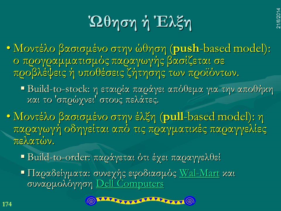 174 21/6/2014 Ώθηση ή Έλξη •Μοντέλο βασισμένο στην ώθηση (push-based model): ο προγραμματισμός παραγωγής βασίζεται σε προβλέψεις ή υποθέσεις ζήτησης τ