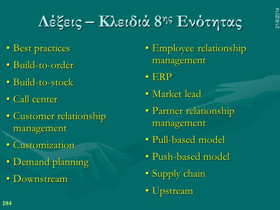 184 21/6/2014 Λέξεις – Κλειδιά 8 ης Ενότητας •Best practices •Build-to-order •Build-to-stock •Call center •Customer relationship management •Customiza