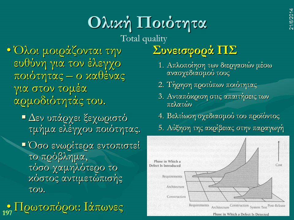 197 21/6/2014 Ολική Ποιότητα •Όλοι μοιράζονται την ευθύνη για τον έλεγχο ποιότητας – ο καθένας για στον τομέα αρμοδιότητάς του.  Δεν υπάρχει ξεχωριστ