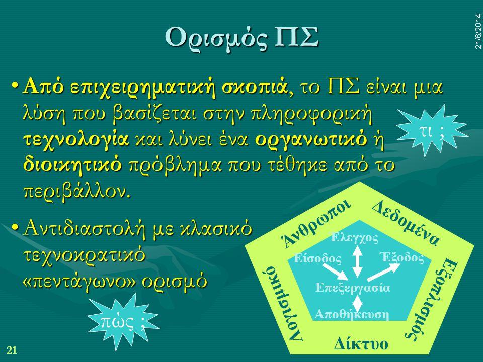 21 21/6/2014 Ορισμός ΠΣ •Από επιχειρηματική σκοπιά, το ΠΣ είναι μια λύση που βασίζεται στην πληροφορική τεχνολογία και λύνει ένα οργανωτικό ή διοικητι