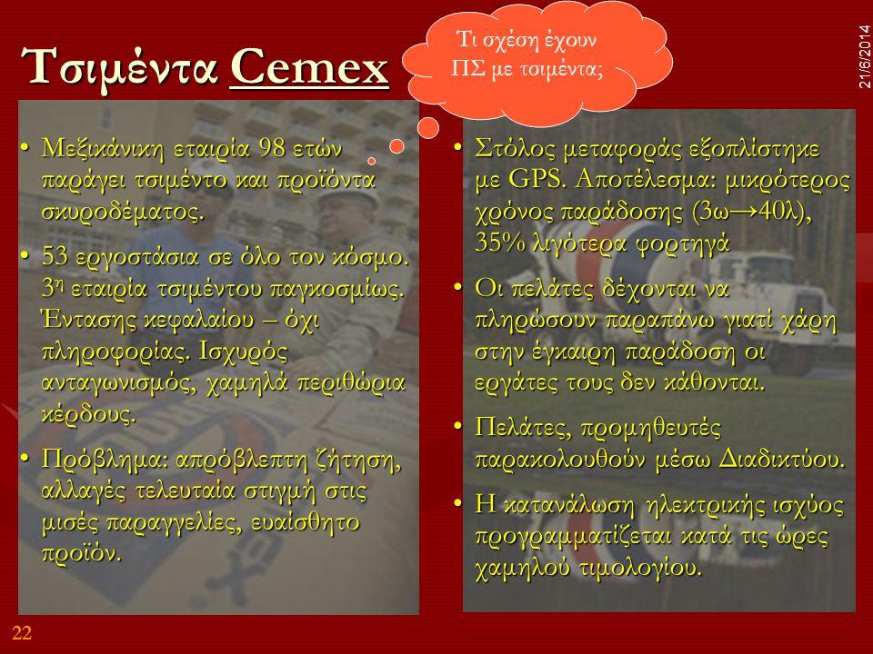 22 21/6/2014 Τσιμέντα Cemex Cemex •Μεξικάνικη εταιρία 98 ετών παράγει τσιμέντο και προϊόντα σκυροδέματος. •53 εργοστάσια σε όλο τον κόσμο. 3 η εταιρία