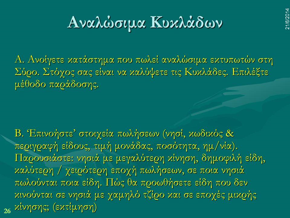26 21/6/2014 Α. Ανοίγετε κατάστημα που πωλεί αναλώσιμα εκτυπωτών στη Σύρο. Στόχος σας είναι να καλύψετε τις Κυκλάδες. Επιλέξτε μέθοδο παράδοσης. Β. 'Ε