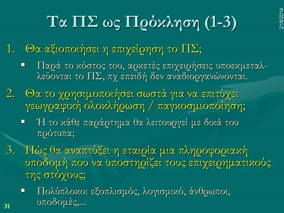 31 21/6/2014 Τα ΠΣ ως Πρόκληση (1-3) 1.Θα αξιοποιήσει η επιχείρηση το ΠΣ;  Παρά το κόστος του, αρκετές επιχειρήσεις υποεκμεταλ- λεύονται το ΠΣ, πχ επ