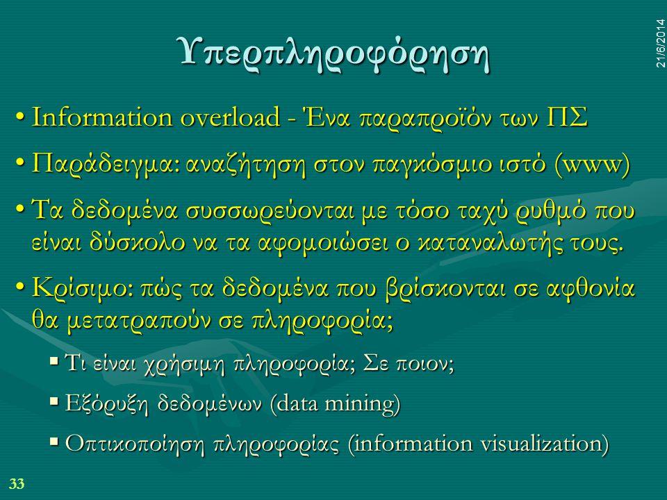 33 21/6/2014 Υπερπληροφόρηση •Information overload - Ένα παραπροϊόν των ΠΣ •Παράδειγμα: αναζήτηση στον παγκόσμιο ιστό (www) •Τα δεδομένα συσσωρεύονται