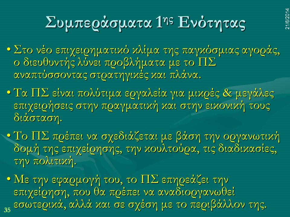 35 21/6/2014 Συμπεράσματα 1 ης Ενότητας •Στο νέο επιχειρηματικό κλίμα της παγκόσμιας αγοράς, ο διευθυντής λύνει προβλήματα με το ΠΣ αναπτύσσοντας στρα