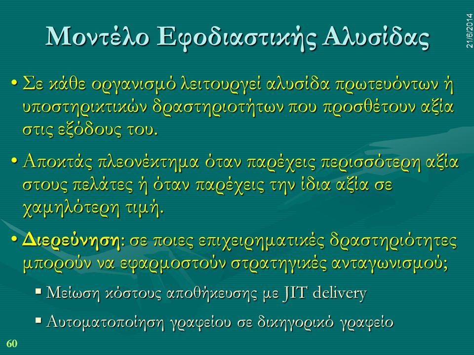 60 21/6/2014 Μοντέλο Εφοδιαστικής Αλυσίδας •Σε κάθε οργανισμό λειτουργεί αλυσίδα πρωτευόντων ή υποστηρικτικών δραστηριοτήτων που προσθέτουν αξία στις