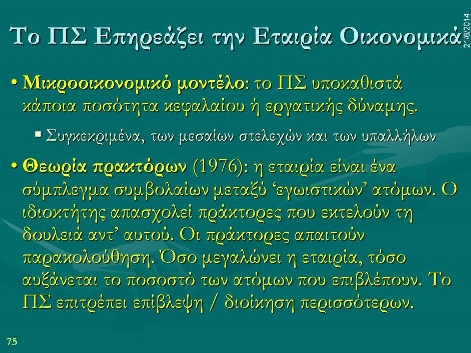 75 21/6/2014 Το ΠΣ Επηρεάζει την Εταιρία Οικονομικά •Μικροοικονομικό μοντέλο: το ΠΣ υποκαθιστά κάποια ποσότητα κεφαλαίου ή εργατικής δύναμης.  Συγκεκ