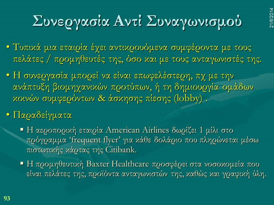 93 21/6/2014 Συνεργασία Αντί Συναγωνισμού •Τυπικά μια εταιρία έχει αντικρουόμενα συμφέροντα με τους πελάτες / προμηθευτές της, όσο και με τους ανταγων