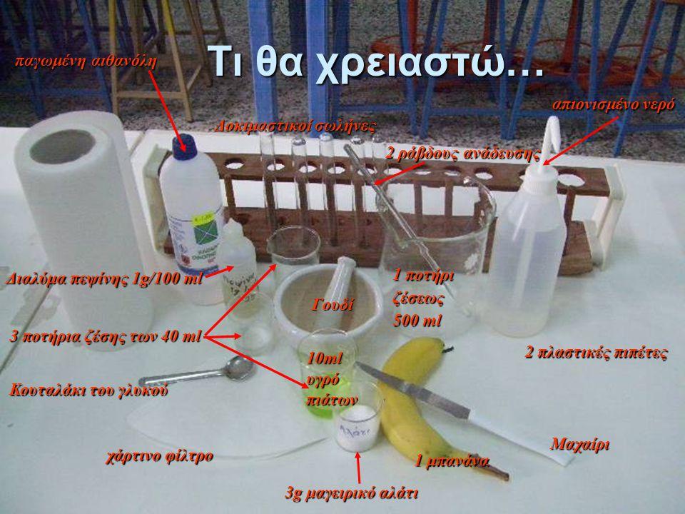 Tι θα χρειαστώ… Γουδί 1 μπανάνα Μαχαίρι Κουταλάκι του γλυκού 1 ποτήρι ζέσεως 500 ml 3 ποτήρια ζέσης των 40 ml χάρτινο φίλτρο 2 πλαστικές πιπέτες Δοκιμ