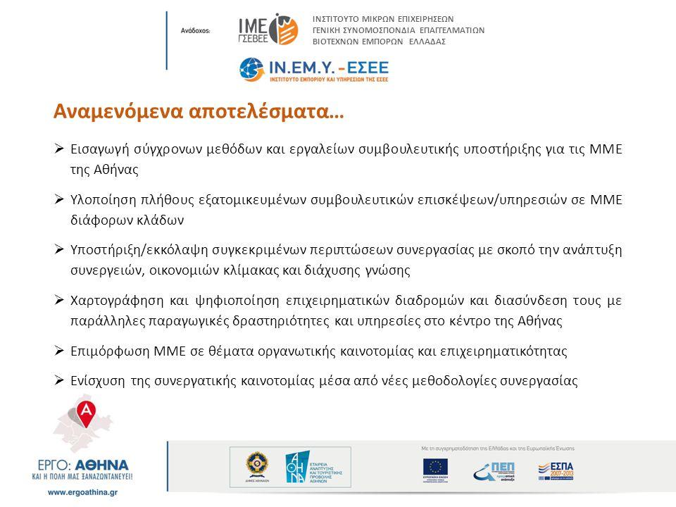 Αναμενόμενα αποτελέσματα…  Εισαγωγή σύγχρονων μεθόδων και εργαλείων συμβουλευτικής υποστήριξης για τις ΜΜΕ της Αθήνας  Υλοποίηση πλήθους εξατομικευμένων συμβουλευτικών επισκέψεων/υπηρεσιών σε ΜΜΕ διάφορων κλάδων  Υποστήριξη/εκκόλαψη συγκεκριμένων περιπτώσεων συνεργασίας με σκοπό την ανάπτυξη συνεργειών, οικονομιών κλίμακας και διάχυσης γνώσης  Χαρτογράφηση και ψηφιοποίηση επιχειρηματικών διαδρομών και διασύνδεση τους με παράλληλες παραγωγικές δραστηριότητες και υπηρεσίες στο κέντρο της Αθήνας  Επιμόρφωση ΜΜΕ σε θέματα οργανωτικής καινοτομίας και επιχειρηματικότητας  Ενίσχυση της συνεργατικής καινοτομίας μέσα από νέες μεθοδολογίες συνεργασίας ΙΝΣΤΙΤΟΥΤΟ ΜΙΚΡΩΝ ΕΠΙΧΕΙΡΗΣΕΩΝ ΓΕΝΙΚΗ ΣΥΝΟΜΟΣΠΟΝΔΙΑ ΕΠΑΓΓΕΛΜΑΤΙΩΝ ΒΙΟΤΕΧΝΩΝ ΕΜΠΟΡΩΝ ΕΛΛΑΔΑΣ