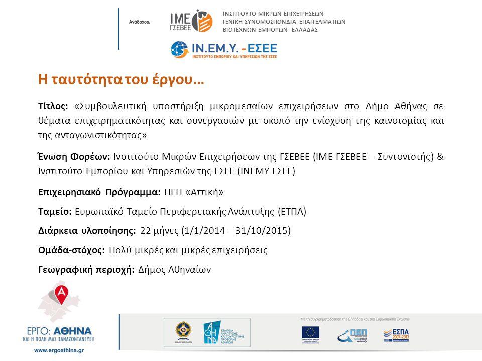 Η ταυτότητα του έργου… Τίτλος: «Συμβουλευτική υποστήριξη μικρομεσαίων επιχειρήσεων στο Δήμο Αθήνας σε θέματα επιχειρηματικότητας και συνεργασιών με σκοπό την ενίσχυση της καινοτομίας και της ανταγωνιστικότητας» Ένωση Φορέων: Ινστιτούτο Μικρών Επιχειρήσεων της ΓΣΕΒΕΕ (ΙΜΕ ΓΣΕΒΕΕ – Συντονιστής) & Ινστιτούτο Εμπορίου και Υπηρεσιών της ΕΣΕΕ (ΙΝΕΜΥ ΕΣΕΕ) Επιχειρησιακό Πρόγραμμα: ΠΕΠ «Αττική» Ταμείο: Ευρωπαϊκό Ταμείο Περιφερειακής Ανάπτυξης (ΕΤΠΑ) Διάρκεια υλοποίησης: 22 μήνες (1/1/2014 – 31/10/2015) Ομάδα-στόχος: Πολύ μικρές και μικρές επιχειρήσεις Γεωγραφική περιοχή: Δήμος Αθηναίων ΙΝΣΤΙΤΟΥΤΟ ΜΙΚΡΩΝ ΕΠΙΧΕΙΡΗΣΕΩΝ ΓΕΝΙΚΗ ΣΥΝΟΜΟΣΠΟΝΔΙΑ ΕΠΑΓΓΕΛΜΑΤΙΩΝ ΒΙΟΤΕΧΝΩΝ ΕΜΠΟΡΩΝ ΕΛΛΑΔΑΣ