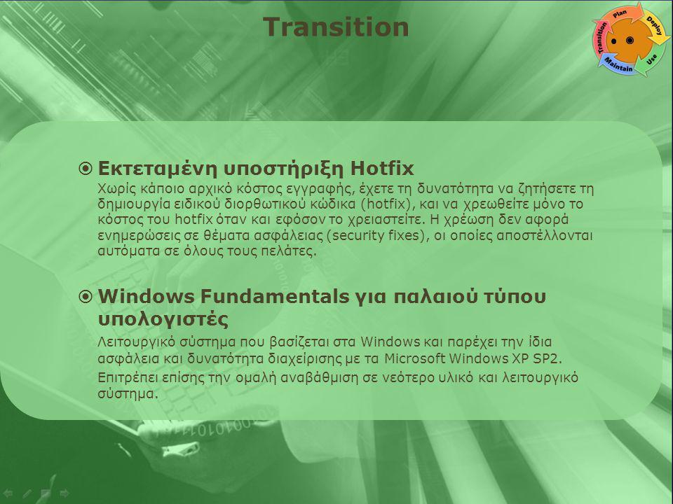 Transition  Εκτεταμένη υποστήριξη Hotfix Χωρίς κάποιο αρχικό κόστος εγγραφής, έχετε τη δυνατότητα να ζητήσετε τη δημιουργία ειδικού διορθωτικού κώδικα (hotfix), και να χρεωθείτε μόνο το κόστος του hotfix όταν και εφόσον το χρειαστείτε.