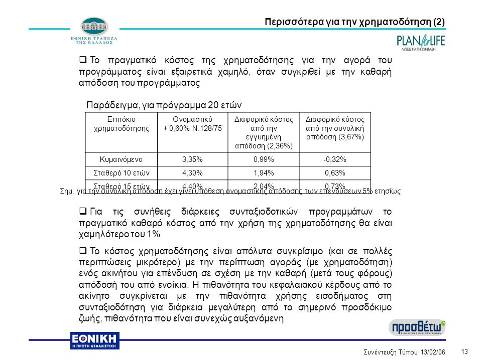 Συνέντευξη Τύπου 13/02/06 13 Περισσότερα για την χρηματοδότηση (2)  Το πραγματικό κόστος της χρηματοδότησης για την αγορά του προγράμματος είναι εξαιρετικά χαμηλό, όταν συγκριθεί με την καθαρή απόδοση του προγράμματος Παράδειγμα, για πρόγραμμα 20 ετών Σημ.
