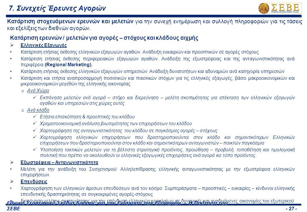 - 27 - Εθνικό Στρατηγικό Σχέδιο Δράσης για την Ενίσχυση των Εξαγωγών – Η Πρόταση του ΣΕΒΕ 7. Συνεχείς Έρευνες Αγορών Κατάρτιση ερευνών / μελετών για α
