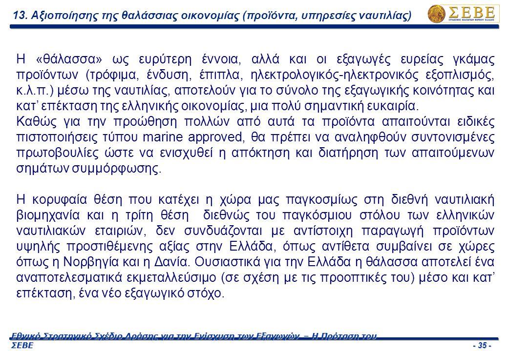- 35 - Εθνικό Στρατηγικό Σχέδιο Δράσης για την Ενίσχυση των Εξαγωγών – Η Πρόταση του ΣΕΒΕ Η «θάλασσα» ως ευρύτερη έννοια, αλλά και οι εξαγωγές ευρείας γκάμας προϊόντων (τρόφιμα, ένδυση, έπιπλα, ηλεκτρολογικός-ηλεκτρονικός εξοπλισμός, κ.λ.π.) μέσω της ναυτιλίας, αποτελούν για το σύνολο της εξαγωγικής κοινότητας και κατ' επέκταση της ελληνικής οικονομίας, μια πολύ σημαντική ευκαιρία.