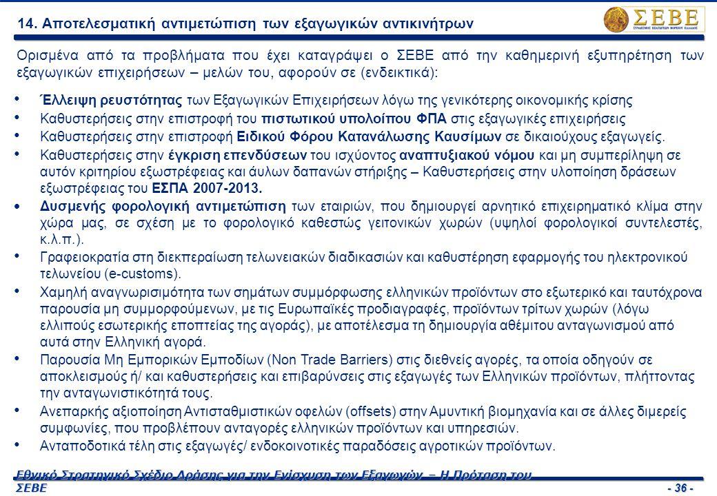 - 36 - Εθνικό Στρατηγικό Σχέδιο Δράσης για την Ενίσχυση των Εξαγωγών – Η Πρόταση του ΣΕΒΕ 14. Αποτελεσματική αντιμετώπιση των εξαγωγικών αντικινήτρων