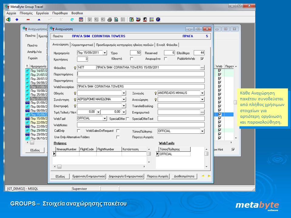 GROUPS – Στοιχεία αναχώρησης πακέτου metabyte software Κάθε Αναχώρηση πακέτου συνοδεύεται από πλήθος χρήσιμων στοιχείων για αρτιότερη οργάνωση και παρ