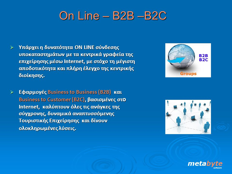 Οn Line – Β2Β –B2C  Yπάρχει η δυνατότητα ΟΝ LINE σύνδεσης υποκαταστημάτων με τα κεντρικά γραφεία της επιχείρησης μέσω Ιnternet, με στόχο τη μέγιστη α