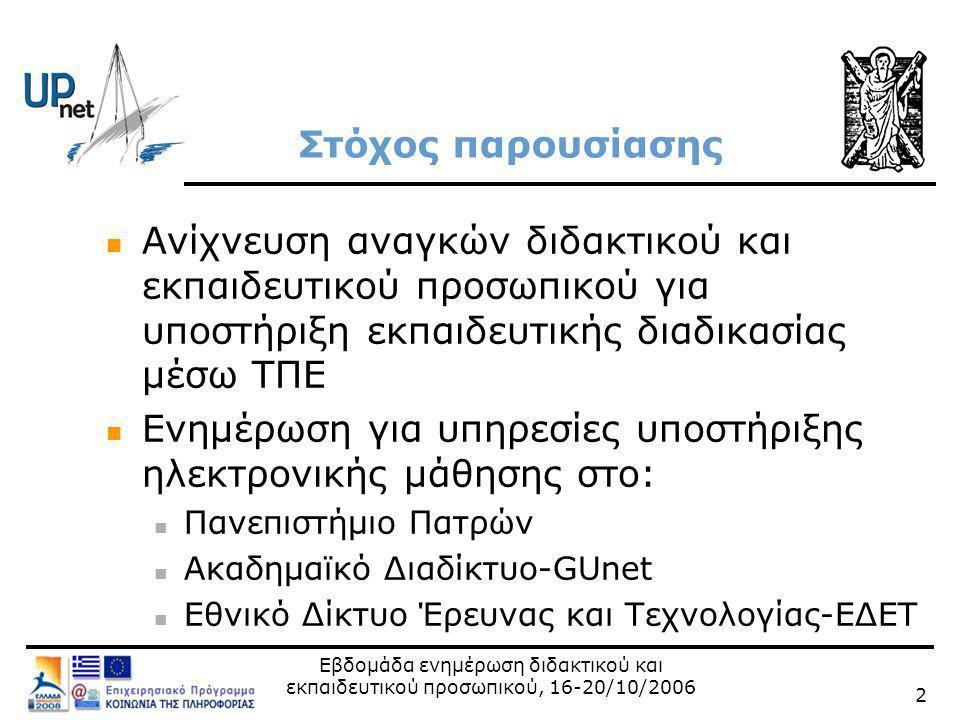 Εβδομάδα ενημέρωση διδακτικού και εκπαιδευτικού προσωπικού, 16-20/10/2006 13 GUnet eclass 2.0 Επίδειξη eclass http://eclass.upatras.gr/