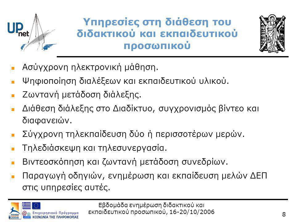 Εβδομάδα ενημέρωση διδακτικού και εκπαιδευτικού προσωπικού, 16-20/10/2006 19 Διάθεση διάλεξης μέσω Διαδικτύου, προσθήκη και συγχρονισμός διαφανειών  Μέσα  UPnet/Πανεπιστήμιο Πατρών:  Μεταφόρτωση υλικού στον εξυπηρετητή VOD του Πανεπιστημίου Πατρών vod.upnet.gr  Συγχρονισμός διαφανειών μαθημάτων-πιλότων  Με ιδίους πόρους από διδάσκοντες  Συγχρονισμός διαφανειών  ΕΔΕΤ  Διάθεση υλικού από http://vod.grnet.gr/http://vod.grnet.gr/  Μεταφόρτωση υλικού από ιδρυματικούς διαχειριστές υπηρεσίας