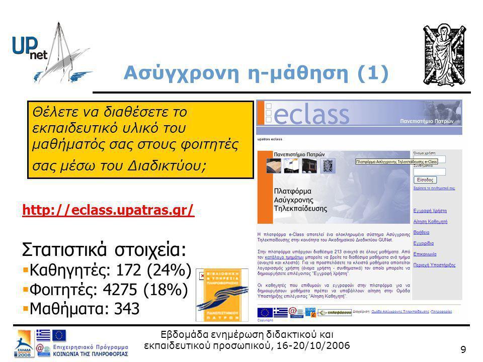Εβδομάδα ενημέρωση διδακτικού και εκπαιδευτικού προσωπικού, 16-20/10/2006 9 Ασύγχρονη η-μάθηση (1) http://eclass.upatras.gr/ Στατιστικά στοιχεία:  Καθηγητές: 172 (24%)  Φοιτητές: 4275 (18%)  Μαθήματα: 343 Θέλετε να διαθέσετε το εκπαιδευτικό υλικό του μαθήματός σας στους φοιτητές σας μέσω του Διαδικτύου;
