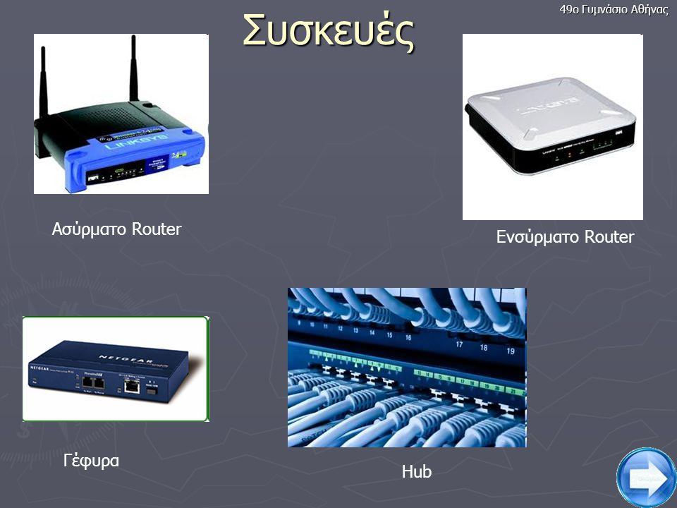 8 Δρομολογητής (Router) Παράδειγμα δικτύου υπολογιστών Διαδίκτυο Hub Γέφυρα Ποια σύνδεση θεωρείτε ασφαλέστερη, την ενσύρματη ή την ασύρματη; 49ο Γυμνάσιο Αθήνας