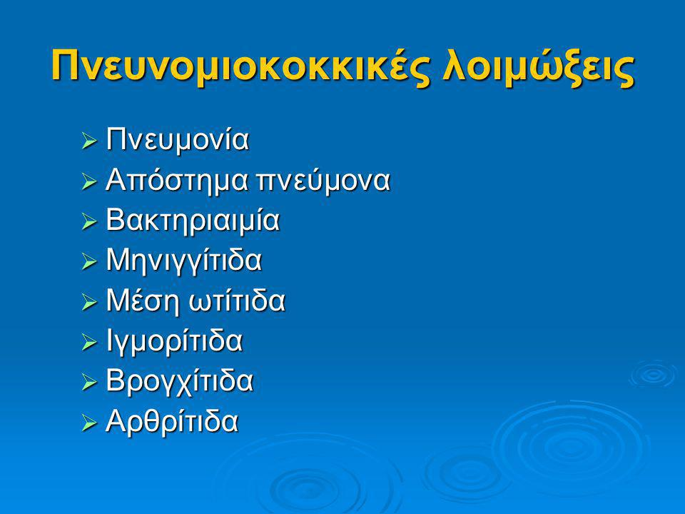 Πνευνομιοκοκκικές λοιμώξεις  Ομάδες υψηλού κινδύνου  Τα παιδιά ηλικίας < 2 ετών  Τα παιδιά ηλικίας < 2 ετών  Οι ενήλικες > 65 ετών  Οι ενήλικες > 65 ετών  Τα άτομα με χρόνια νοσήματα  Τα άτομα με χρόνια νοσήματα  Οι ανοσοκατασταλμένοι  Οι ανοσοκατασταλμένοι  Τα άτομα που έχουν προσβληθεί από HIV  Τα άτομα που έχουν προσβληθεί από HIV  Τα άτομα με δρεπανοκυτταρική αναιμία  Τα άτομα με δρεπανοκυτταρική αναιμία  Τα άτομα με συγγενή ή επίκτητη δυσλειτουργία του σπλήνα  Τα άτομα με συγγενή ή επίκτητη δυσλειτουργία του σπλήνα  Σπληνεκτομή  Σπληνεκτομή