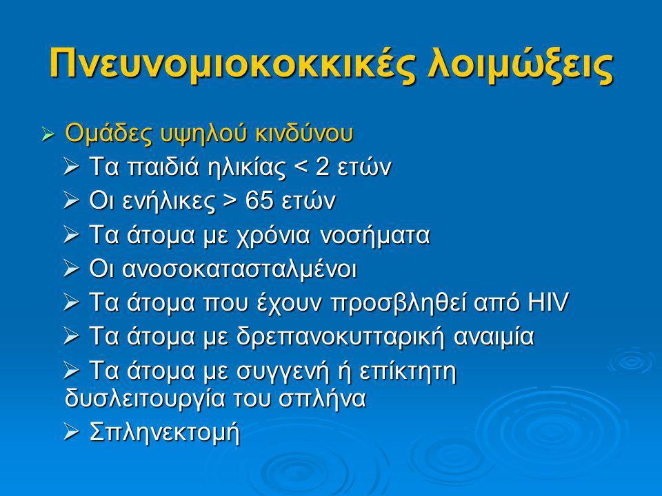 Πνευνομιοκοκκικές λοιμώξεις  Ομάδες υψηλού κινδύνου  Τα παιδιά ηλικίας < 2 ετών  Τα παιδιά ηλικίας < 2 ετών  Οι ενήλικες > 65 ετών  Οι ενήλικες >