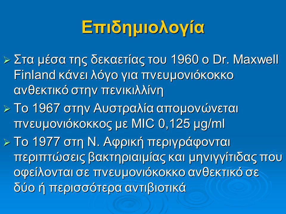 Επιδημιολογία  Στις Ηνωμένες Πολιτείες Αμερικής τα ποσοστά αντοχής στην πενικιλλίνη είναι: 1989 < 5% 1989 < 5% 1991-1992 6,6% 1991-1992 6,6% 1994-1995 23,6% 1994-1995 23,6%