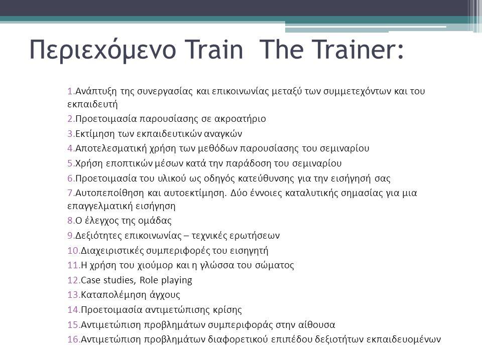 Περιεχόμενο Train The Trainer: 1.Ανάπτυξη της συνεργασίας και επικοινωνίας μεταξύ των συμμετεχόντων και του εκπαιδευτή 2.Προετοιμασία παρουσίασης σε α