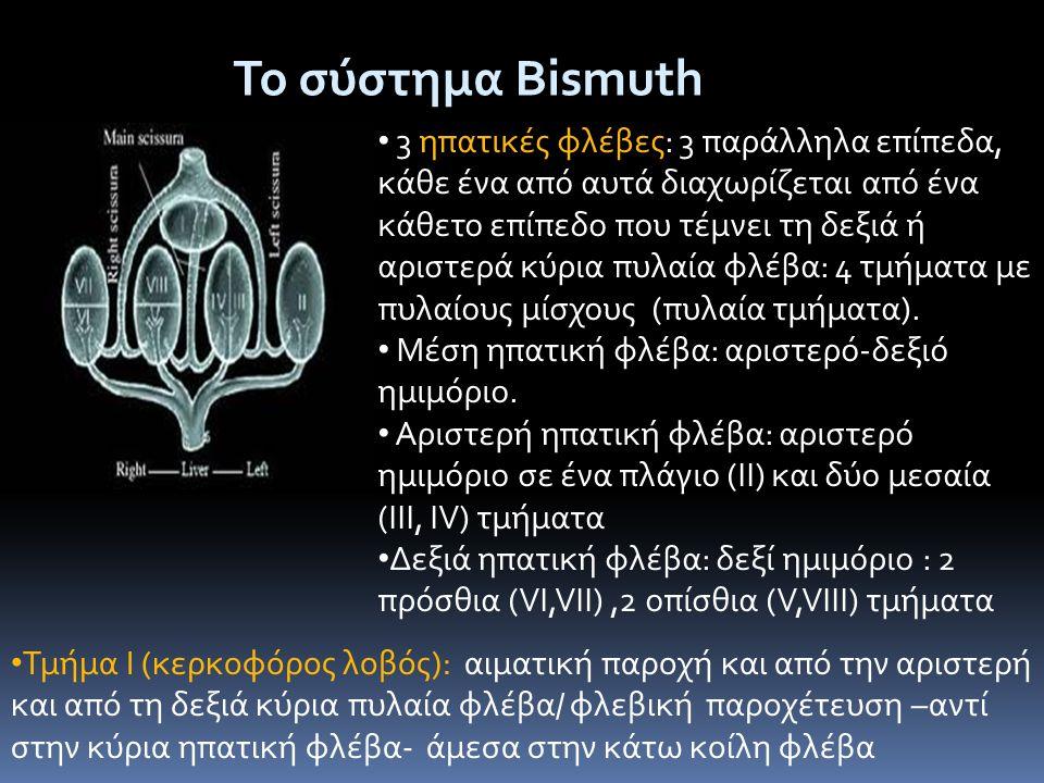 Το σύστημα Bismuth • 3 ηπατικές φλέβες: 3 παράλληλα επίπεδα, κάθε ένα από αυτά διαχωρίζεται από ένα κάθετο επίπεδο που τέμνει τη δεξιά ή αριστερά κύρι