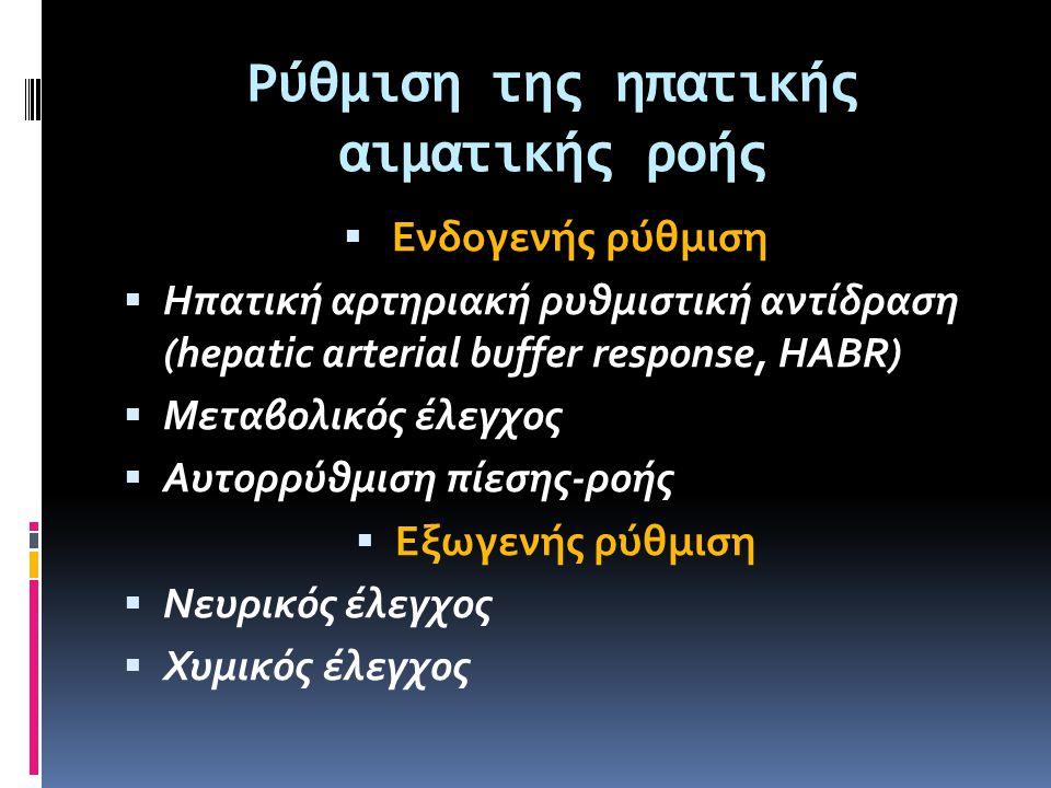 Ρύθμιση της ηπατικής αιματικής ροής  Ενδογενής ρύθμιση  Ηπατική αρτηριακή ρυθμιστική αντίδραση (hepatic arterial buffer response, HABR)  Μεταβολικό
