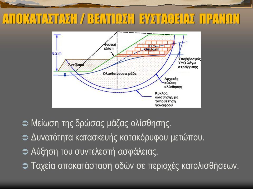 ΑΠΟΚΑΤΑΣΤΑΣΗ / ΒΕΛΤΙΩΣΗ ΕΥΣΤΑΘΕΙΑΣ ΠΡΑΝΩΝ  Μείωση της δρώσας μάζας ολίσθησης.  Δυνατότητα κατασκευής κατακόρυφου μετώπου.  Αύξηση του συντελεστή ασ