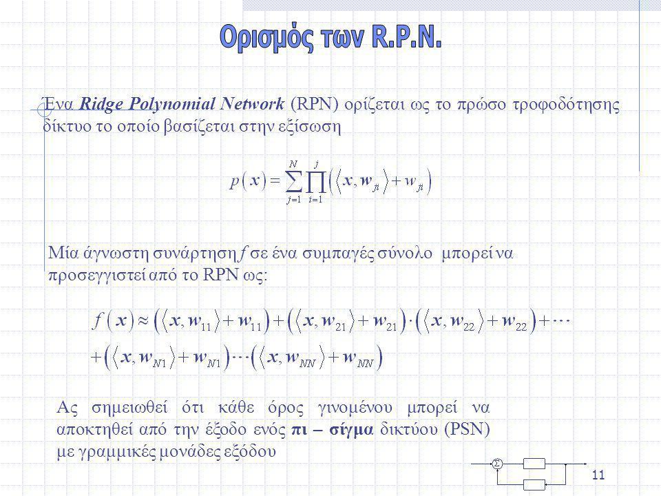 10 Ένα ridge πολυώνυμο είναι μία ridge συνάρτηση η οποία μπορεί να εκφραστεί ως: Θεώρημα από τους Chui και Li αποδεικνύει ότι κάθε πολυώνυμο στο μπορεί να εκφραστεί με όρους ενός ridge πολυώνυμου.