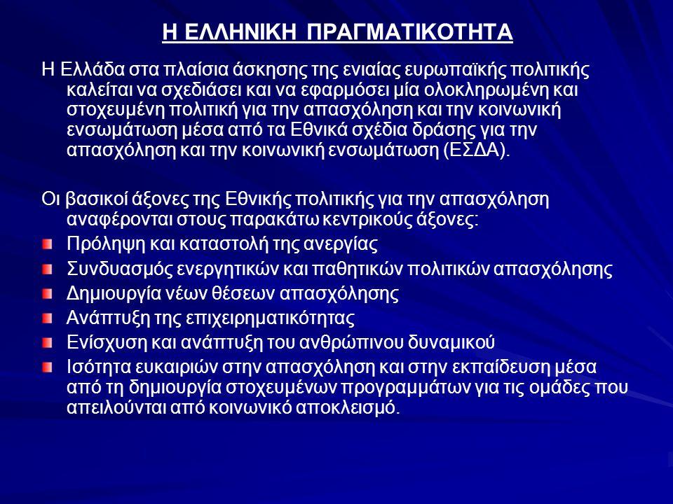 Η ΕΛΛΗΝΙΚΗ ΠΡΑΓΜΑΤΙΚΟΤΗΤΑ Η Ελλάδα στα πλαίσια άσκησης της ενιαίας ευρωπαϊκής πολιτικής καλείται να σχεδιάσει και να εφαρμόσει μία ολοκληρωμένη και στοχευμένη πολιτική για την απασχόληση και την κοινωνική ενσωμάτωση μέσα από τα Εθνικά σχέδια δράσης για την απασχόληση και την κοινωνική ενσωμάτωση (ΕΣΔΑ).