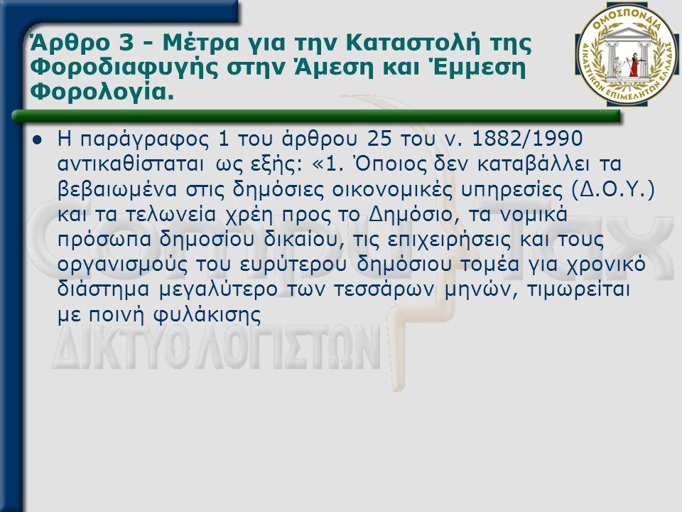 Άρθρο 3 - Μέτρα για την Καταστολή της Φοροδιαφυγής στην Άμεση και Έμμεση Φορολογία.  Η παράγραφος 1 του άρθρου 25 του ν. 1882/1990 αντικαθίσταται ως