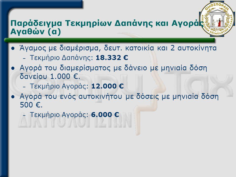 Παράδειγμα Τεκμηρίων Δαπάνης και Αγοράς Αγαθών (α)  Άγαμος με διαμέρισμα, δευτ. κατοικία και 2 αυτοκίνητα – Τεκμήριο Δαπάνης: 18.332 €  Αγορά του δι