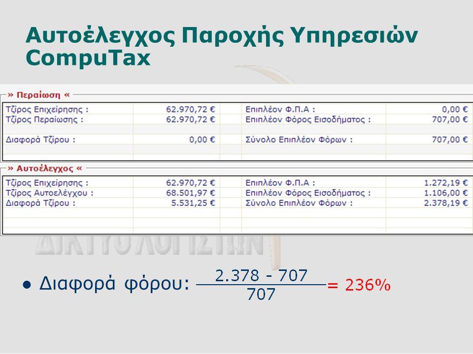 Αυτοέλεγχος Παροχής Υπηρεσιών CompuTax  Διαφορά φόρου: